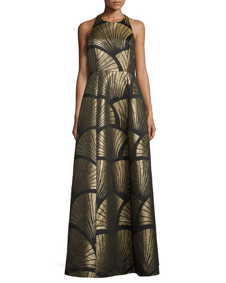 Sleeveless Metallic Scallop Racerback Gown, Black/Gold