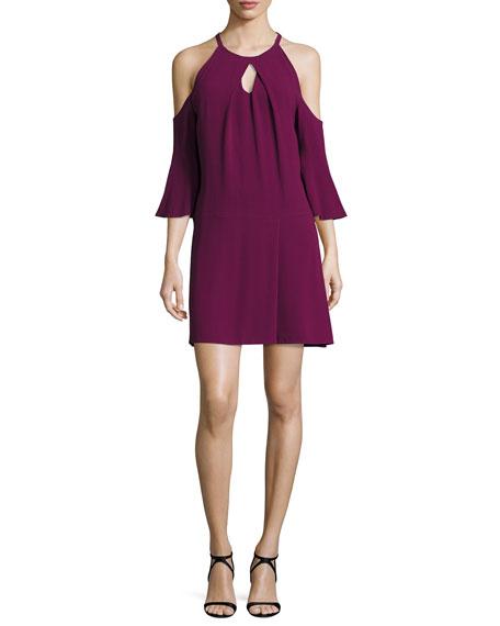 Ramy Brook Evette Cold-Shoulder Dress, Sangria