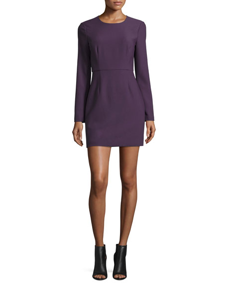 Rudi Long-Sleeve Crepe Open-Back Sheath Dress, Deep Plum