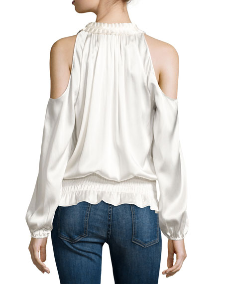 Jamie Charmeuse Cold-Shoulder Top, Soft White