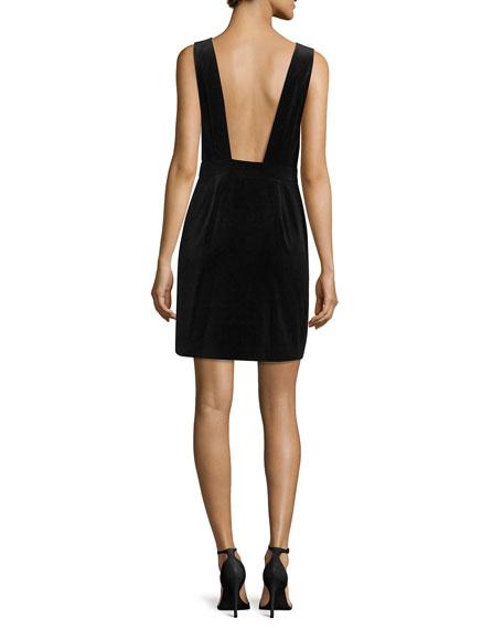 Velvet Front-Zip Plunge-Back Dress, Noir