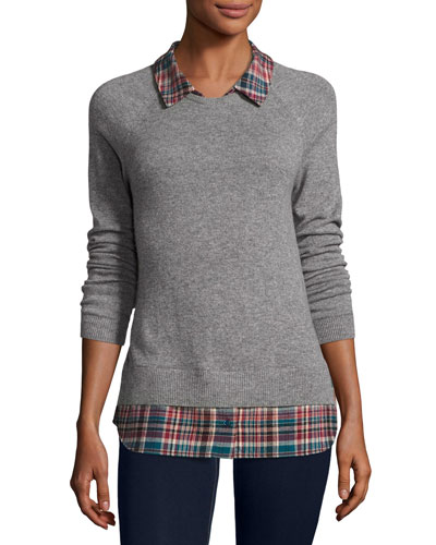 Cashmere Zaan Twofer Sweater, Gray/Deep Marine
