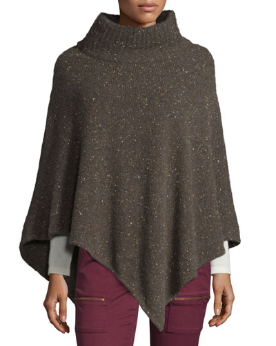 Haesel C Speckled Cashmere Poncho, Heather Cacao