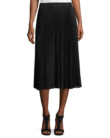 Haute Hippie Sunburst Flare Metallic Polka-Dot Midi Skirt,