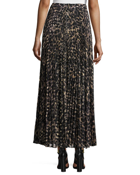 Sunburst Flare Printed Maxi Skirt, Clinton Metallic Leopard