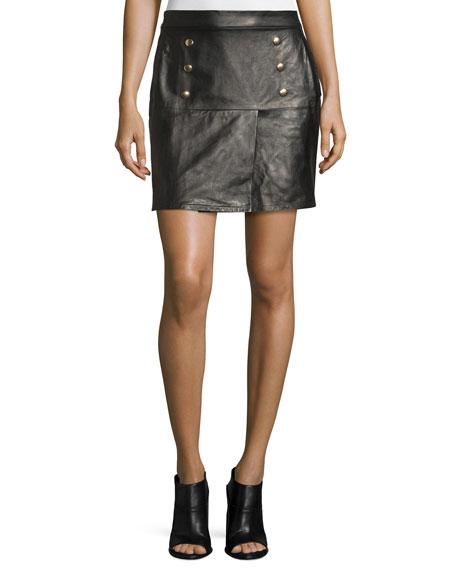 Overlay Leather Mini Skirt, Noir