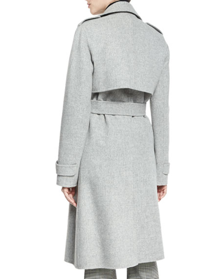 a0b75a7649e Theory Oaklane DF New Divided Open-Front Trench Coat, Melange Gray