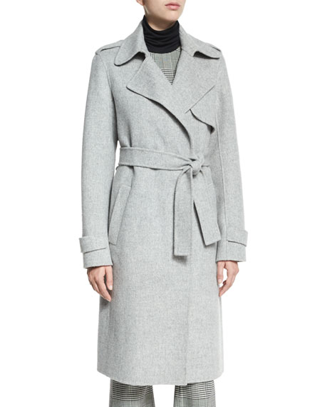 Oaklane DF New Divided Open-Front Trench Coat, Melange Gray