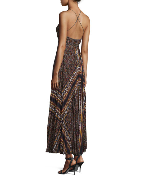 Katia Cross-Back Pleated Multipattern Midi Dress, Brown/Multicolor