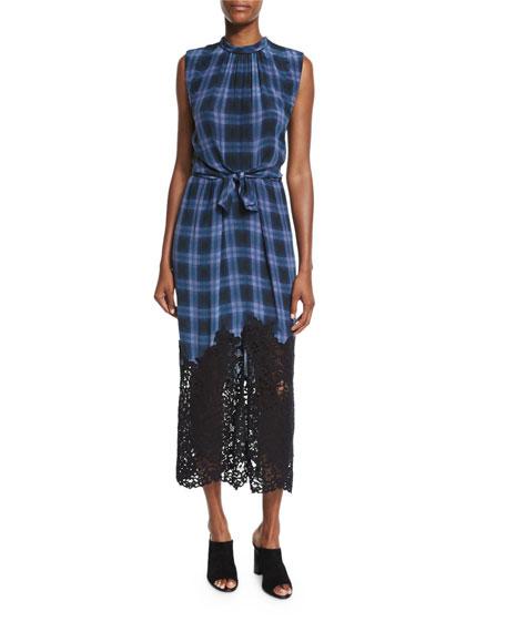 Rebecca Taylor Lace-Hem Plaid Sleeveless Dress, Violet Stone