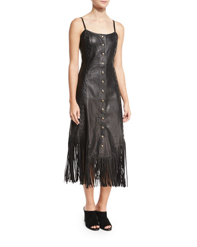 Leather Fringe Slip Dress, Black