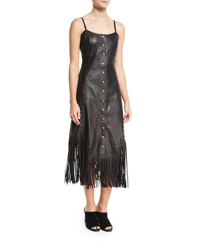 Leather Fringe Slip Dress, Black