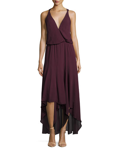 Silk Chiffon Strappy High-Low Dress, Plum