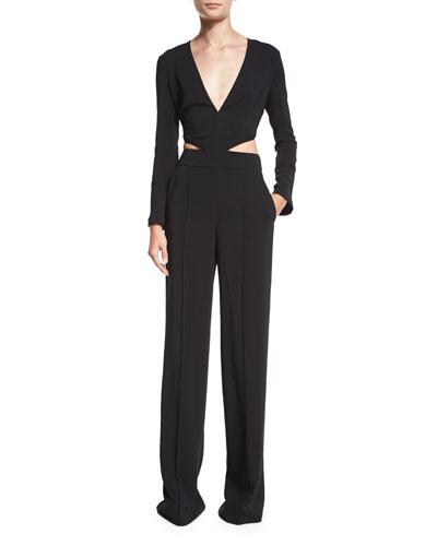 Morgan Long-Sleeve Cutout Jumpsuit, Black