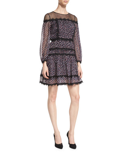 Jamie Contrast-Lace Silk Dress, Pirouette Dot Navy/Black