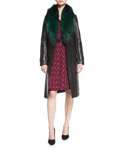 Valinda Leather Trench Coat w/Fur Collar, Black