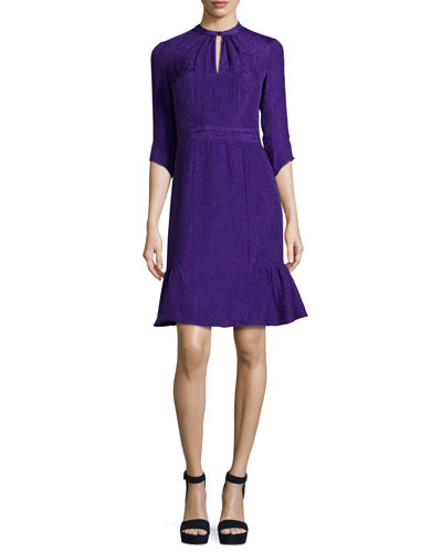 3/4-Sleeve Silk Jacquard Cocktail Dress, Purple