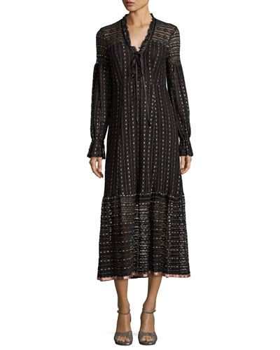 Long-Sleeve Embroidered Tie-Front Midi Dress, Black/Pearl