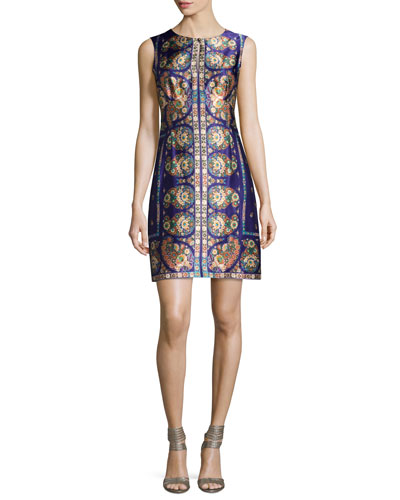 Sleeveless Floral Paisley Silk Cocktail Dress, Plum/Multicolor