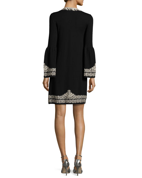 Embroidered Wool Shift Dress, Black
