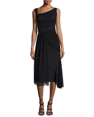 Ester Sleeveless Smocked Jersey & Tulle Dress, Nero
