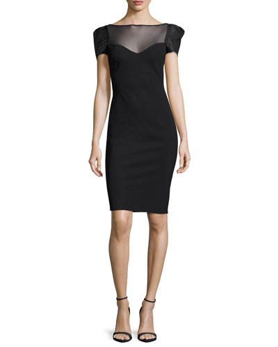 Misa Short-Sleeve Illusion Jersey Sheath Dress, Nero