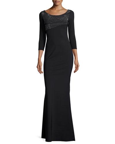 Lasa 3/4-Sleeve Embellished Jersey Gown, Nero