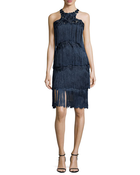 Sleeveless Tiered Fringe Cocktail Dress, Navy
