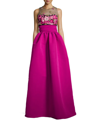 Sleeveless Embroidered Ball Gown, Fuchsia