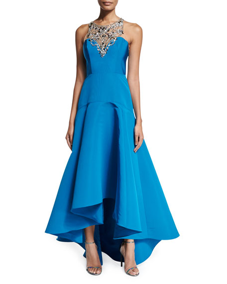 24d14309 Marchesa Sleeveless Embellished High-Low Gown, Peacock