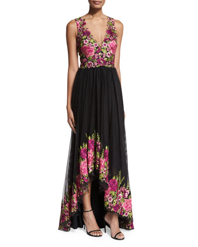 Sleeveless Embroidered High-Low Tulle Gown, Magenta