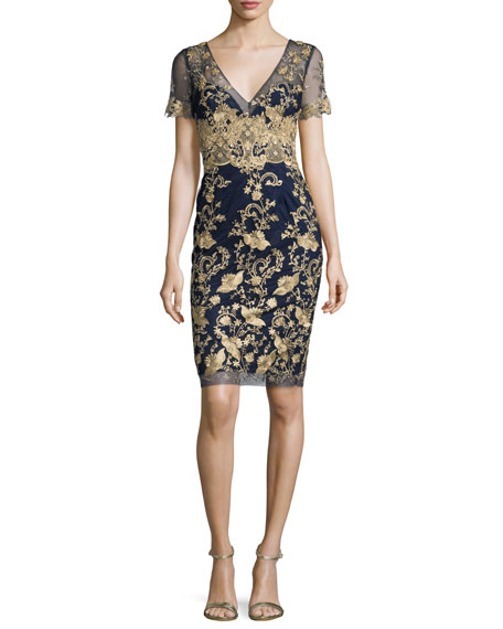 Short-Sleeve Embroidered Tulle Cocktail Dress, Navy