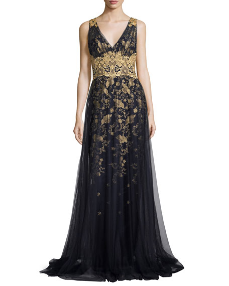 Sleeveless Embroidered Floral Tulle Gown, Navy