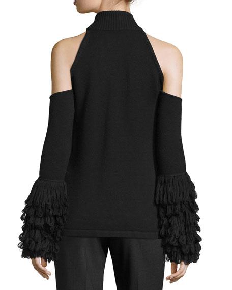 Cold-Shoulder Loopy-Yarn Turtleneck Top, Black