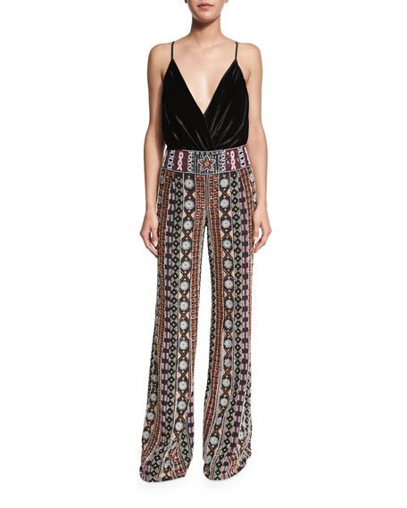 Embellished Wide-Leg Pants, Black/Multicolor
