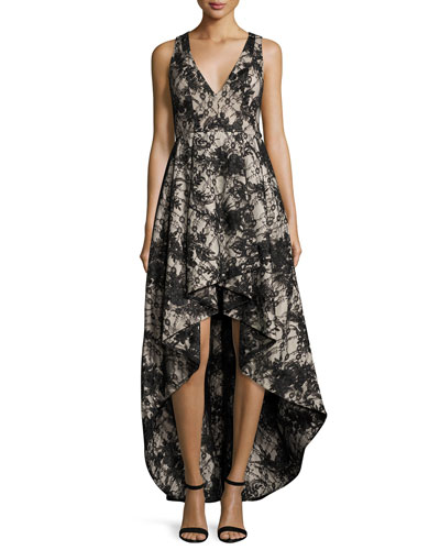 Sleeveless Lace High-Low Cocktail Dress, Black/Sesame