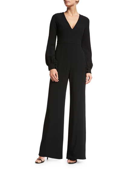Alexis Isadore Bishop-Sleeve Wide-Leg Jumpsuit, Black