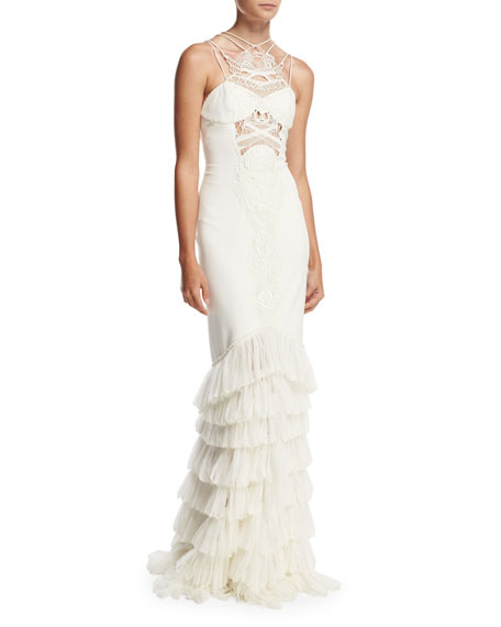 Guipure Lace & Tulle Crepe Gown, Ivory