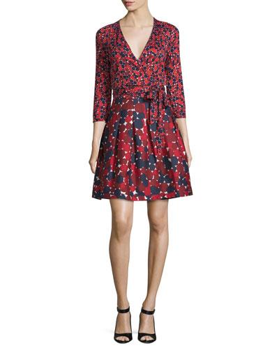 Jewel Wrap Dress w/Mikado Skirt, Montage Mini Rubiate