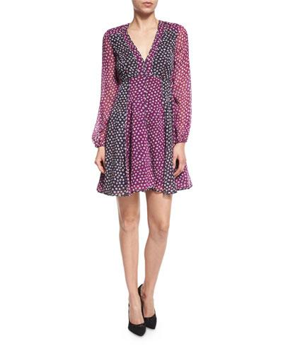Ivetta Long-Sleeve Printed Chiffon Dress, Pirouette Dot
