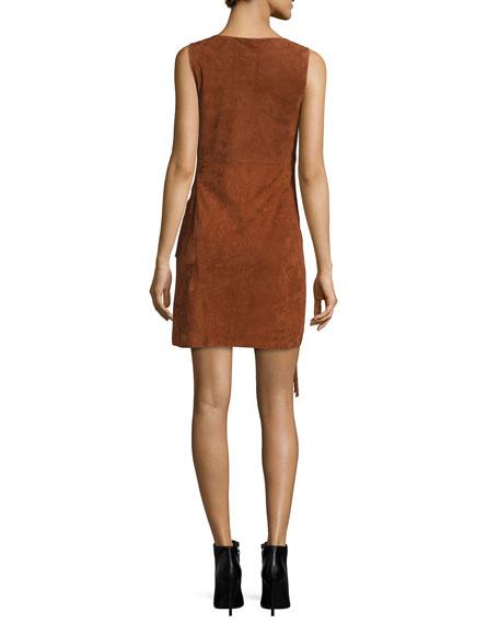 Jenn Suede Fringe Dress, Whisky Brown