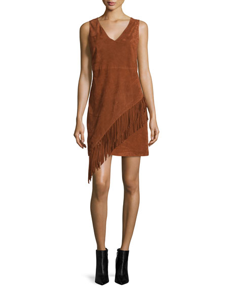 Jenn Suede Fringe Dress, Whisky Brown