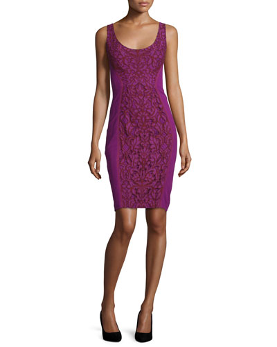 Geovana Lace Sleeveless Sheath Dress, Purple Amethyst/Red Onyx