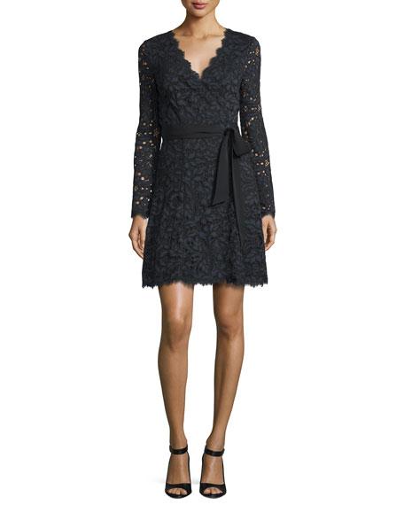 Shaelyn Lace Long-Sleeve Wrap Dress, Black/Navy/Black