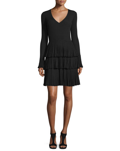 Sharlynn Tiered Pissé Knit Dress, Black