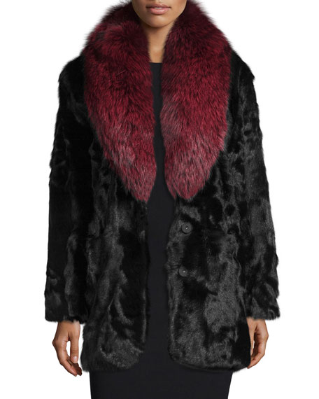 Gautam Fur Coat w/Fox Fur Collar, Black/Red