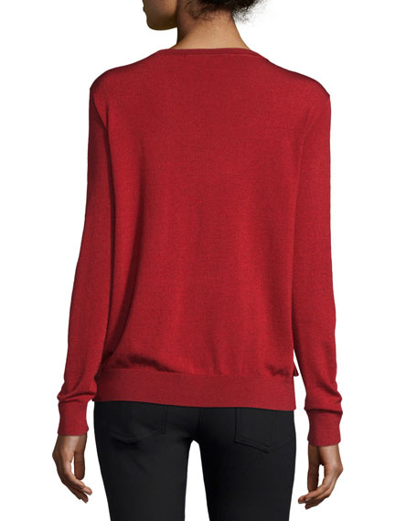 Benni Crewneck Ruffle-Trim Wool-Blend Sweater, Rubiate