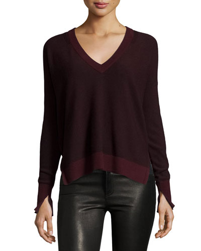 Taylor Merino Wool V-Neck Sweater, Port