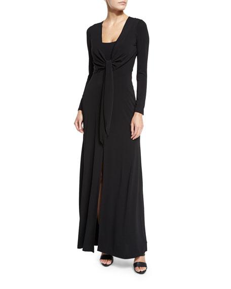 Salina Tie-Front Long-Sleeve Maxi Dress