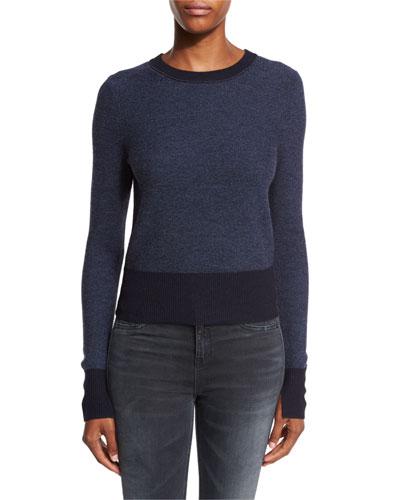 Taylor Bicolor Crewneck Sweater, Navy